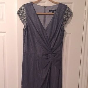 David Meister shimmering grey gown size 10